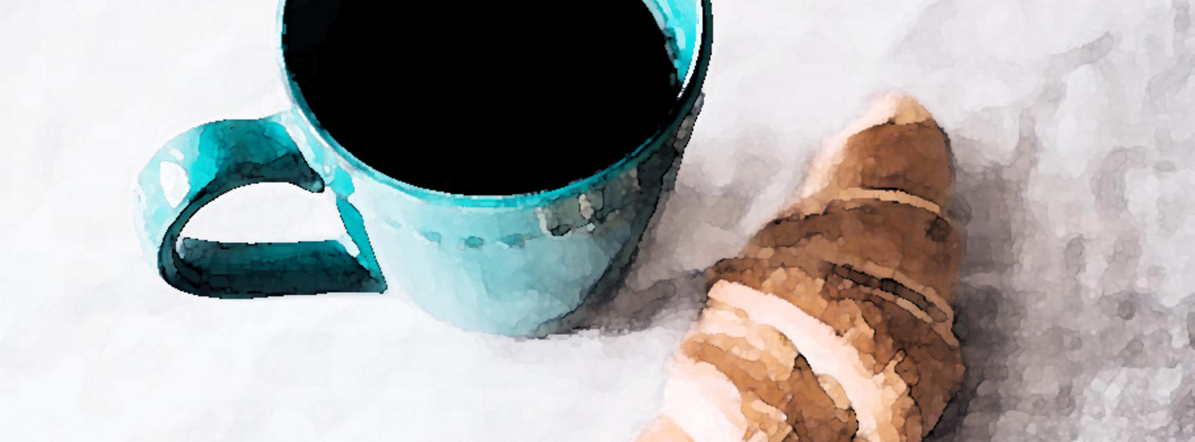 black coffee caffeine croissant cup