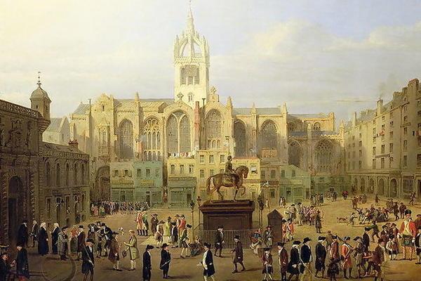 Parliament Close and Public Figures of Edinburgh